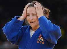 Marti Malloy of the United States celebrates after winning the 2nd ever US women's judo medal.
