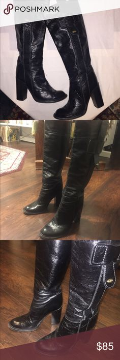 "Chloe grained Leather Pull up Riding Boots US 10 Chloe black grained leather pull up boots with 4"" wood heel. These have been worn a lot but still have a lot left in them. They're a size 40 or a US 10. The circumference is 16"". Chloe Shoes Heeled Boots"