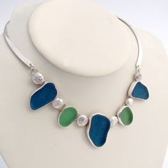 By The Sea Jewelry - Sea Maiden - 5 Piece Sea Glass Necklace In Bezel Setting , $1,600.00 (http://bytheseajewelry.com/sea-maiden-5-piece-sea-glass-necklace-in-bezel-setting/)