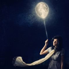 Picture of a girl holding a string attached to the moon. Concept from PigmentB