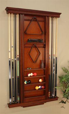 Ventura Wall Billiards Accessory Rack w 8 Cue Slots