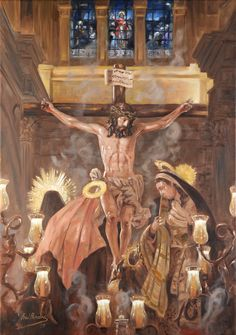 Crucifixion / Calvary (Holy Week procession) // Work of Art by Raúl Berzosa // Religious Images, Religious Art, Crucifixion Of Jesus, Jesus Christ, Holy Week Images, Christ The King, Heart Of Jesus, Celestial, Christianity