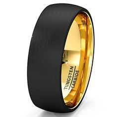 Mens Wedding Band Black Tungsten Ring 8mm Gold Inside Matted Brushed Surface Dome Comfort Fit(8) Duke Collections http://www.amazon.com/dp/B015GM6XT8/ref=cm_sw_r_pi_dp_fgyHwb0Y0PRRN