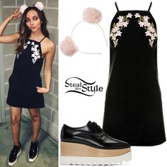 Jade Thirlwall posted a picture on instagram today wearing a Moto Embroidered Denim Pinafore Dress ($85.00 – wrong color) and Pink Pom-Pom Ears Headband By Orelia (Sold Out) both from Topshop, and Stella McCartney Platform Elyse Shoes ($995.00). You can find similar shoes for less at Charles & Keith ($69.00).