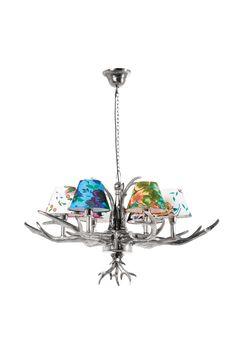 KARE Design Hängeleuchte HL Antler Flowers 6er mit einer Aufhängung aus vernickeltem Eisen, einem Leuchter aus Aluminium und Schirmen aus Baumwolle, ausgelegt für sechs mal  25 Watt.