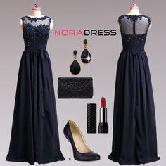 824958c4d84  73.22€  Robe de soirée glamour longue en mousseline avec dentelle et  perles. Noradress.com