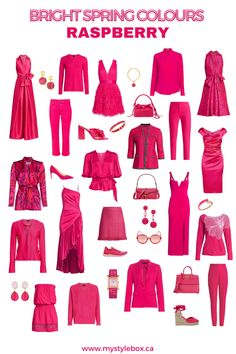 BRIGHT SPRING COLOURS_RASPBERRY Clear Spring, Bright Spring, Warm Spring, Warm Autumn, Winter Colors, Spring Colors, Look Fashion, Fashion Outfits, Spring Color Palette