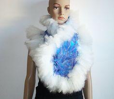 Multicolor White Blue Purple Scarf Chunky Scarf Silk Wool Felted shawl furry scarf ART Accessories OOAK