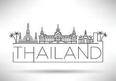 Vector Art : Minimal Vector Thailand City Linear Skyline with Typographic Des