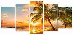 Sea Beach Coconut Tree Art Wall Hanging Prints Canvas Modern Framed Home Decor #KandN #Modernism