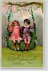 1910 Kind Glückwunsch Schaukel alus Blumen Geburtstag