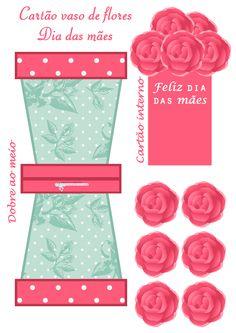 Montando minha festa: Cartão vaso de flores para o dia das mães Valentines Day Cards Handmade, Valentines Diy, Diy And Crafts, Crafts For Kids, Paper Crafts, Flower Cards, Paper Flowers, Art N Craft, Vintage Paper Dolls