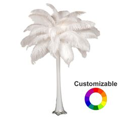This ostrich feather centerpiece features vibrant feathers and an eiffel tower vase. Shop more wholesale ostrich feather centerpieces today at EventsWholesale.com.