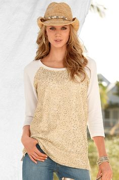 Boston Proper Sequin and lace sweatshirt #bostonproper