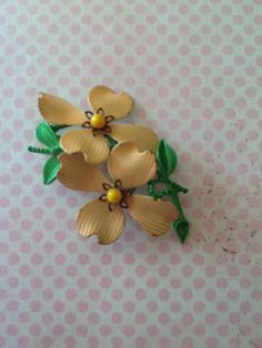 Vintage 1950s Peach pink dogwood Blossom Flower by QuiltsETC, $16.99