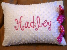 Personalized or Monogrammed Minky Pillow by dotsndimplesboutique, $25.00