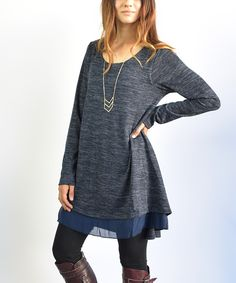 Look at this éloges Dark Blue Asymmetrical Tunic on #zulily today!