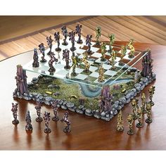Fanciful Fairy Chess Set Home Decor - In the legendary world of Faerie, the armies of two ancient kings gather for a mythical battle. Across the fields and woods they march, matching wits and force as players in the age-old classic strategy game of chess. Resin Crafts, Resin Art, Backgammon, Chess Table, 3d Prints, Chess Pieces, Table Games, Board Games, Diy And Crafts