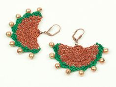 RESERVED FOR JOANNE  Green & Copper Lace Earrings  by PinaraDesign, $24.00