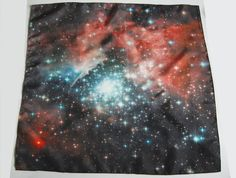 Galaxy Print Nebula Star Silk Square Scarf