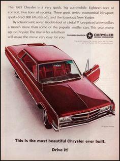 1964 Chrysler New Yorker Original Vintage Print Ad Maroon 300 4 Dr Hardtop | eBay