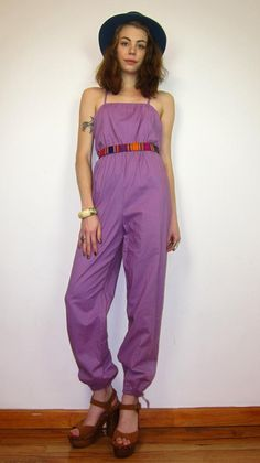 3b69e427af0 Vintage purple 80s festival jumpsuit    boho playsuit    criss cross     spaghetti strap