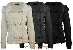 LADIES FAUX FUR KNITTED JACKET WOMENS CARDIGAN 6 BUTTON COAT