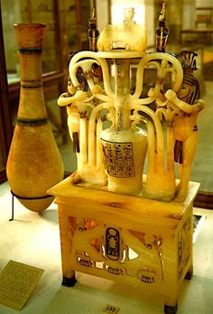 An exquisite alabaster perfume jar from the tomb of Tutankhamun in the Cairo Museum.