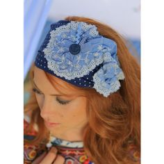 Namul Dark Jeans Head Covering ($40) ❤ liked on Polyvore featuring accessories, hair accessories, blue, feather hair accessories, stretch headbands, blue flower headband, bow headband and blue headband