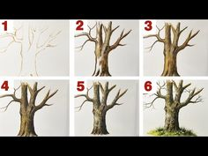 Tree Trunk Painting, Acrylic Painting Trees, Acrylic Painting For Beginners, Acrylic Painting Techniques, Watercolor Trees, Step By Step Painting, Beginner Painting, Acrylic Canvas, Painting Tips