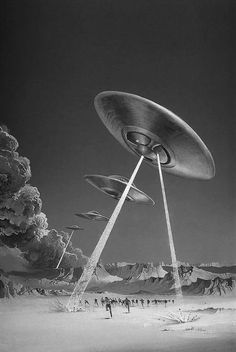I'm back with some Fantasy-art, Sci-fi shit! This time it's the great Uk novel-art coverist and artist Bruce Pennington. Fantastical atmospheres, Ufo, prophecies, destruction and anticipation were the lead of his sci-fi part of work. Arte Sci Fi, Sci Fi Art, Art Science Fiction, Digital Foto, Comics Illustration, Aliens And Ufos, Flying Saucer, Pulp Art, Atomic Age