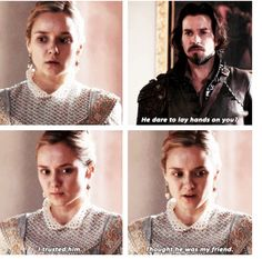 Anne and Aramis (The way she looked away when she noticed he was looking was kinda sad)