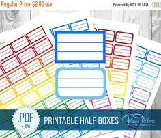 SALE Half Box Printable Planner Stickers HALF by FleurStickers