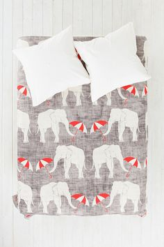 So cute! Want for Ralph's room! Holli Zollinger For DENY Elephant & Umbrella Duvet Cover
