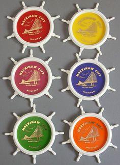 Vtg Souvenir Mackinaw Michigan Island Nautical MI Coaster Ship Steering Wheel