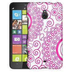 Nokia Lumia 1320 Paisley Circles Pink on White Slim Case
