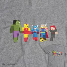 Avengers Pixel Blox tshirt available at WeLoveFine Shop