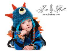 PDF Crochet Pattern for making a Furry Sea Monster Hat with Horns for all sizes Crochet Animal Hats, Crochet Kids Hats, Crochet Baby, Knit Crochet, Crocheted Hats, Knitted Baby, Crochet Crafts, Crochet Projects, Double Crochet
