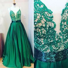 Cheap prom dresses, Buy Quality prom dresses long directly from China satin prom dress Suppliers: 2017 New Green Ball Gown Satin Prom Dresses Long V Neck Lace Spaghetti Straps Sexy Prom Party Gowns Custom Made Fast Shipping Prom Dresses 2017, A Line Prom Dresses, Cheap Prom Dresses, Satin Dresses, Evening Dresses, Beaded Prom Dress, Applique Dress, Green Lace, Ball Gowns