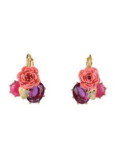 Boucles d'oreilles rose, papillon et verre taillé Rose by LES NEREIDES