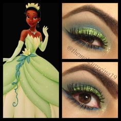 Disney princess Tiana inspired makeup look with added glitter