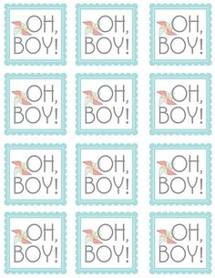 Oh, Boy labels for tags, favors, cupcake topper in blue and green