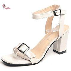 LvYuan Femme Sandales Confort Cuir Verni Eté Marche Confort Boucle Block Heel Beige Gris foncé Moins de 2,5 cm , dark grey , us5.5 / eu36 / uk3.5 / cn35 - Chaussures lvyuan (*Partner-Link)