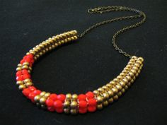 Neon Lights Woven Beaded Necklace  coral/gold by SHoffmannDesigns, $50.00