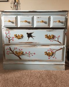 Gracefully Hand Painted Cherry Blossoms and Swallow