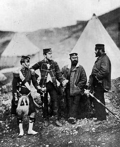Officers of the 42nd Highlanders regiment, known as the 'Black Watch', at their camp outside Sebastopol