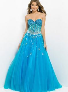 A-line Blue Organza Long Formal Dress Evening Dress/Prom Dress 5314