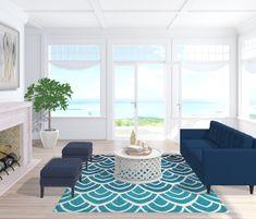 Un salotto in stile marinaro, una spiaggia di sabbia bianca e il blu dell'oceano....  Non resta che aprire la finestra e ascoltare il rumore delle onde...