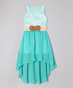 Look at this #zulilyfind! Maya Fashion Mint Floral Belted Hi-Low Dress - Girls by Maya Fashion #zulilyfinds