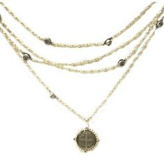 VSA SAN BENITO MAGDALENA NECKLACE IN SILVER WITH PEARL BEADS AND CLEAR STONES